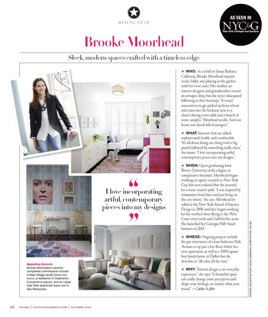 NYCG Rising Start Brooke Moorhead Design feature article